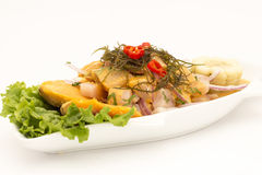 Peru Dish: Cebiche (ceviche) no molho do diabrete de mar, com batata doce (camote), milho, pimentão imagem de stock royalty free
