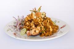 Peru Dish: Rijst met Zeevruchten (Arroz bedriegt Mariscos) Royalty-vrije Stock Foto