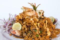 Peru Dish: Rijst met Zeevruchten (Arroz bedriegt Mariscos) Royalty-vrije Stock Afbeelding
