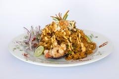 Peru Dish : Riz avec des fruits de mer (escroquerie Mariscos d'Arroz) Image stock
