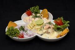 Peru Dish: 3 typer av Cebiche (ceviche) royaltyfri bild