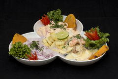 Peru Dish: 3 types of Cebiche (ceviche) Royalty Free Stock Image