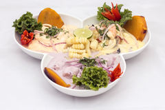 Peru Dish: 3 types of Cebiche (ceviche) Stock Images