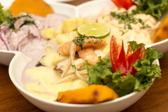 Peru Dish: 3 types of Cebiche   Royalty Free Stock Images