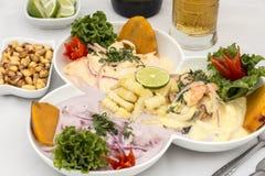 Peru Dish : 3 types de Cebiche photo libre de droits