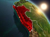 Peru do espaço durante o nascer do sol Imagem de Stock