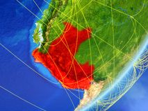 Peru on Earth with network. Peru on model of planet Earth with network at night. Concept of new technology, communication and travel. 3D illustration. Elements stock illustration