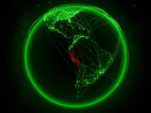 Peru on Earth with network. Peru from space on planet Earth with green network representing international communication, technology and travel. 3D illustration vector illustration