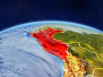 Peru on Earth from space. Peru on planet Earth with country borders and highly detailed planet surface and clouds. 3D illustration. Elements of this image royalty free stock photography