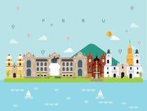 Peru Famous Landmarks Infographic Templates per il viaggio e l'icona, vettore dell'insieme di simboli Fotografia Stock Libera da Diritti