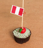 Peru flag on a apple cupcake Royalty Free Stock Photos