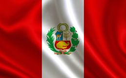 Flag of Peru. Part of the series. Peru flag blowing in the wind Stock Images