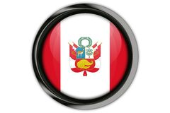 Peru  flag in the button pin Isolated on White Background Stock Images