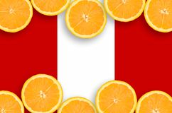 Peru flag in citrus fruit slices horizontal frame. Peru flag in horizontal frame of orange citrus fruit slices. Concept of growing as well as import and export royalty free illustration