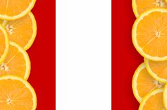 Peru flag in citrus fruit slices vertical frame. Peru flag in vertical frame of orange citrus fruit slices. Concept of growing as well as import and export of royalty free illustration