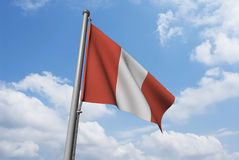 Peru Flag with Clouds Royalty Free Stock Photos