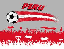 Peru flag colors with soccer ball and Peruvian supporters silhou. Ettes. All the objects, brush strokes and silhouettes are in different layers and the text Royalty Free Stock Photography