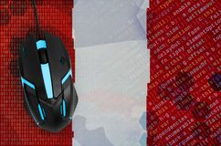 Peru flag and computer mouse. Digital threat, illegal actions on the Internet. Peru flag and modern backlit computer mouse. The concept of digital threat stock images