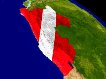 Peru with flag on Earth Stock Photo