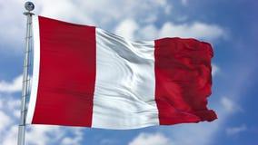 Peru Flag in een Blauwe Hemel Royalty-vrije Stock Foto