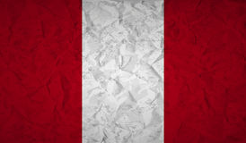 Peru flag with the effect of crumpled paper and grunge Stock Images