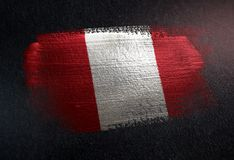 Peru Flag Made of Metallic Brush Paint on Grunge Dark Wall.  royalty free stock images