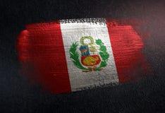 Peru Flag Made of Metallic Brush Paint on Grunge Dark Wall.  stock photo