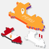 Peru flag on map element with 3D isometric shape isolated on background Stock Photography