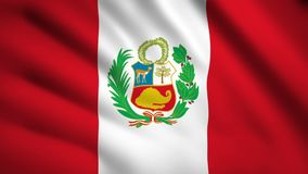 Peru flag Motion video waving in wind. Flag Closeup 1080p HD  footage vector illustration