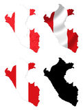 Peru flag over map collage Royalty Free Stock Image