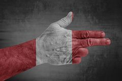 Peru flag painted on male hand like a gun royalty free stock photos