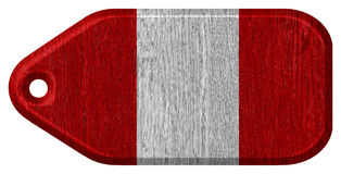 Peru flag. Painted on wooden tag stock photo