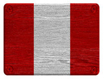 Peru flag. Painted on wooden tag stock photos