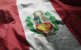 Peru Flag Rumpled Close Up arkivfoto