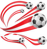 Peru flag  with soccer ball. Isolated on white background Royalty Free Stock Photo