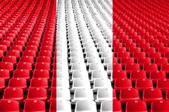 Peru flag stadium seats. Sports competition concept. Peru flag stadium seats. Sports competition concept stock photo