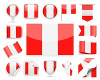 Peru Flag Vector Set Photo stock