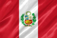 Peru Flag. With waving on satin texture stock illustration