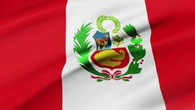 Peru flag waving in wind video footage  Realistic Peru Flag background. Peru Flag Looping Closeup vector illustration