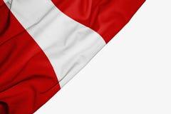 Peru flaga tkanina z copyspace dla twój teksta na białym tle royalty ilustracja