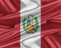 Peru flagga med en glansig siden- textur stock illustrationer
