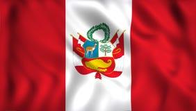 Peru flagga som vinkar i vindsymbolet av Peru royaltyfri illustrationer