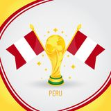 Peru Football Champion World Cup 2018 - drapeau et trophée d'or illustration stock