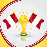 Peru Football Champion World Cup 2018 - flagga och guld- trofé stock illustrationer