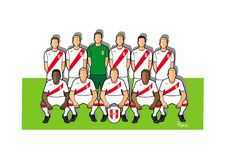 Peru football team 2018. Qualified for the 2018 world cup in Russia Royalty Free Stock Photo