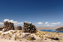 Peru, Funerary towers of Silustrani, Lake Titicaca Stock Photo