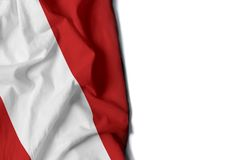 Peru gerimpelde vlag, ruimte voor tekst Stock Foto