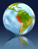Peru on globe with reflection. Illustration with detailed planet surface. Elements of this image furnished by NASA Stock Photo