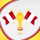 Peru Gold Football Trophy/copo e bandeira ilustração stock