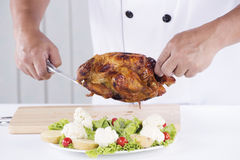 Peru grelhado apresentado cozinheiro chefe Imagens de Stock Royalty Free